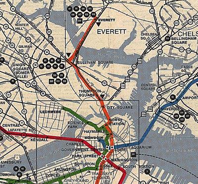 1950s Mbta Elevated Subway Map.Charlestown Postcards